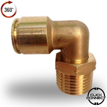 "1/2"" NPT 1/2"" OD Brass Click Connect Elbow Air Fitting"